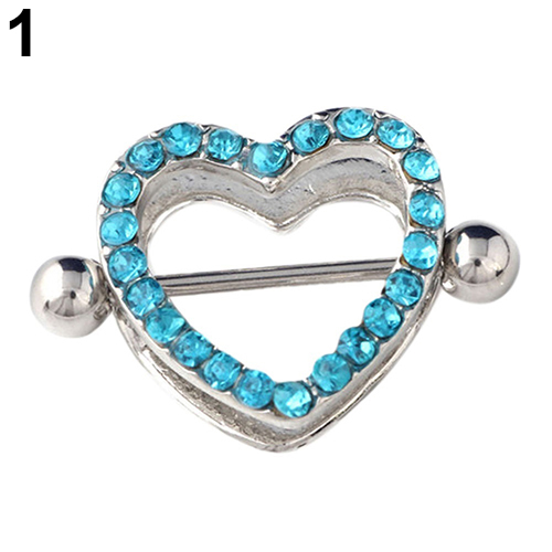 1 Pair Nipple Rings Bars Rhinestone Heart Shape Circle Body Piercing Jewelry Gift