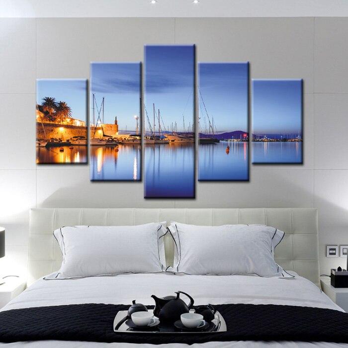 5 Muti piece blue seascape beautiful vertical canvas prints modern ...