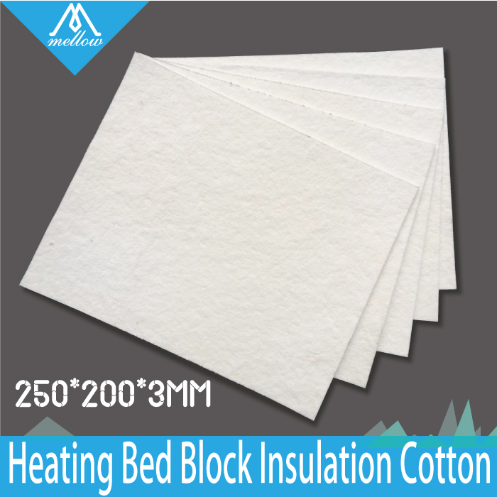 Free shipping 5pcs/lot 3mm thickness 3D Printer Heating Bed Block Insulation Cotton For Reprap Ultimaker Makerbot -250*200*3mm