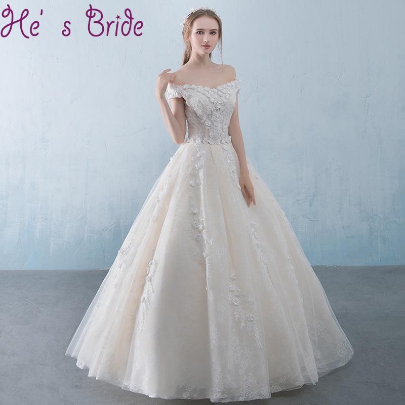 Wedding Dress Elegant White Boat Neck Simple Organza Short Sleeves ...
