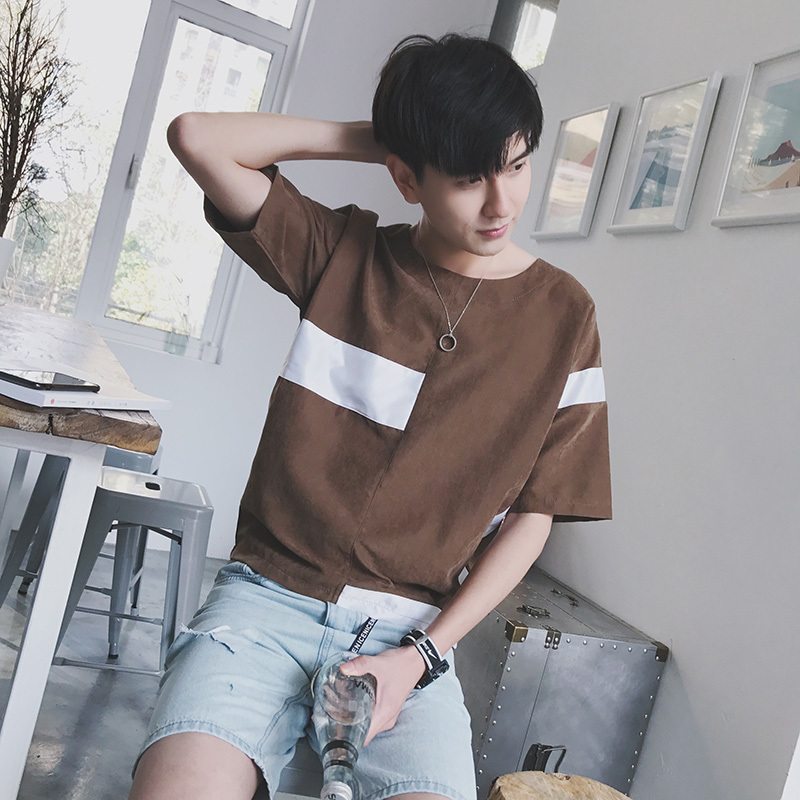 2018 The new listing Wind In Restore Hit Color Split Joint Round Neck Short Sleeve T Pity Time Wear T Coffee tshirt Favourite
