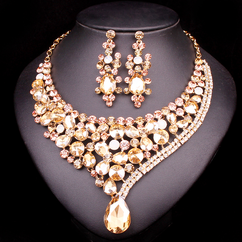 Gorgeous Crystal Bridal Jewelry Sets Wedding Necklace Earring set For Brides Party Accessories Rhinestones Decoration Gift Women