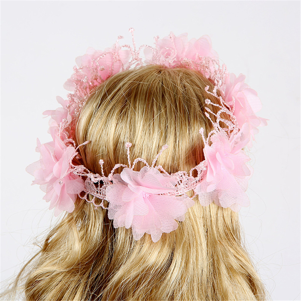 Sweet Wreath Hair Crown Headwear for 18inch American Doll Accessory Pink