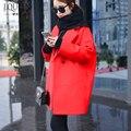 2016 Nuevo Invierno Mujeres de la Capa de Tejido 77% Poliéster Abrigo de Lana para Mujer Espesar Caliente de la Chaqueta de Las Mujeres Ropa Negro Gris Rojo moda