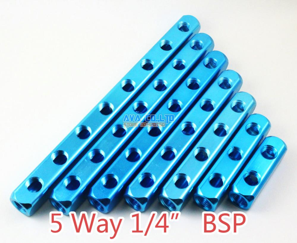 2 Pieces 5 Way 1/4 BSP 8 Ports Pneumatic Aluminum Manifold Block Splitter air compressor 1 2bsp 2 way hose pipe inline manifold block splitter teal blue