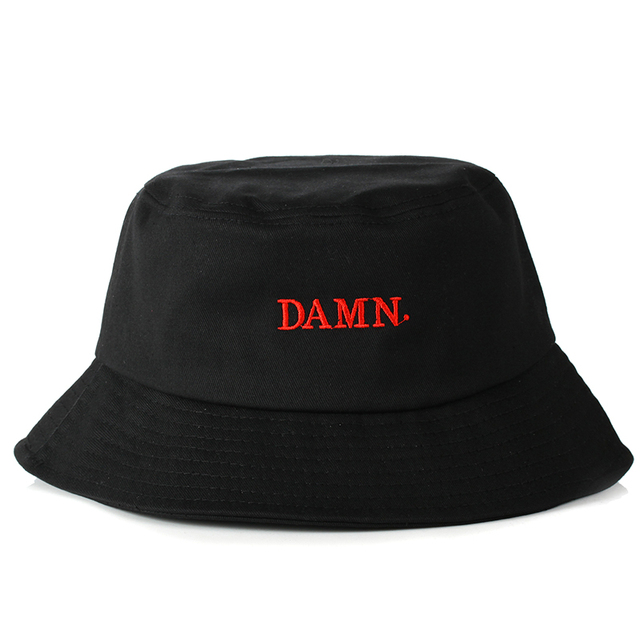 27ee47c4df9 2018 New DAMN embroidery bucket hat women men cotton casual cap fishermen  hats fashion flat cap hat travel hats high quality