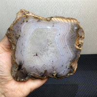 Home furnishing large size natural stones and minerals seaweed agate slice coaster mat healing crystals for home decoration
