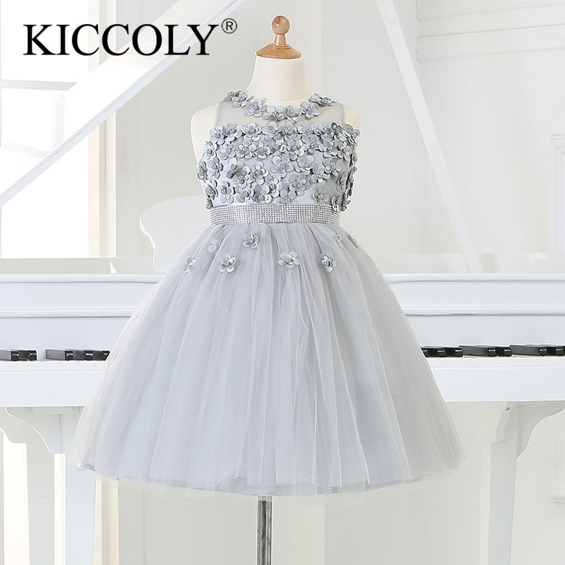 2015 Silver tulle Princess Girl Party Dresses Bead Appliques Tutu Wedding Dress for Christmas Kids Birthday clothes 12M-12Y hot sale white princess girl party birthday dresses tutu wedding dress for christmas with handmade flowers and big bow 12m 12y