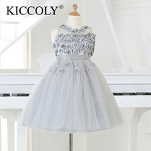 2015 Silver tulle Princess Girl Party Dresses Bead Appliques Tutu Wedding Dress for Christmas Kids Birthday clothes 12M-12Y