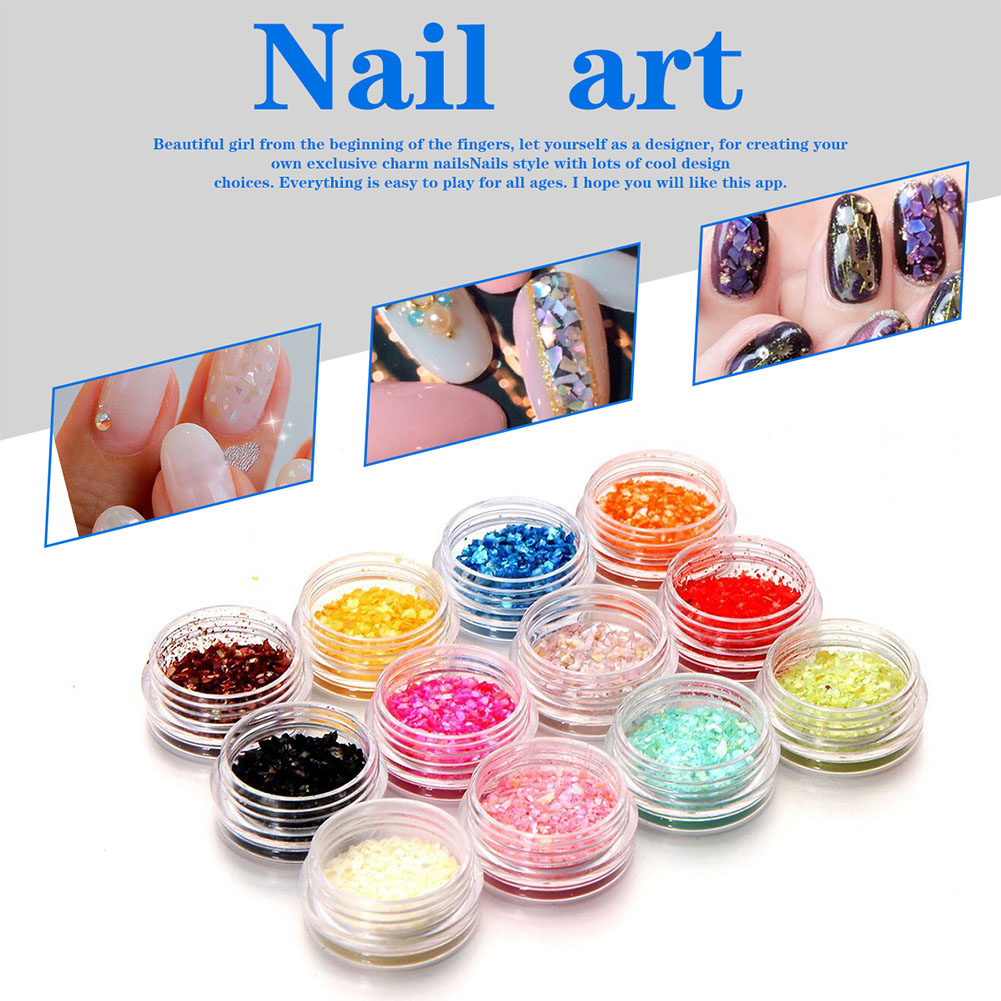 12Colors/1 Set Shiny Shell Granules Nail Art Decor DIY Decoration Manicure Tools