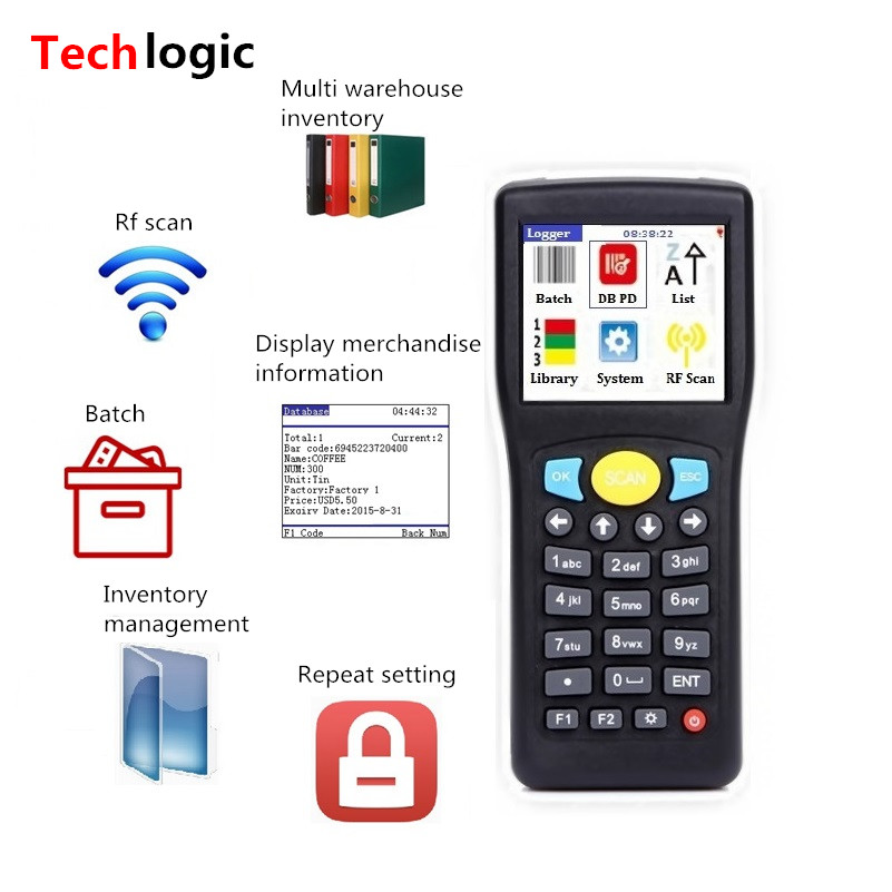 Techlogic E0589 Mini Bar Code Scanner Wireless Barcode Reader Handheld Terminal PDA Warehouse Inventory Barcode Scanner Bar Gun inventory accounting