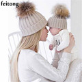 Feitong 2Pcs Mom And Baby Hats Fashion Winter Hat Crochet Knitting Keep Warm Beanie Winter Cap Chapeau Enfant Bonnet Femme
