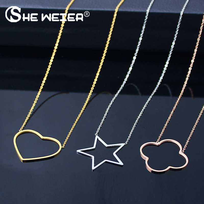SHE WEIER stainless steel chain choker heart best friends pendant necklace women chocker neckless korean star clover round(China)