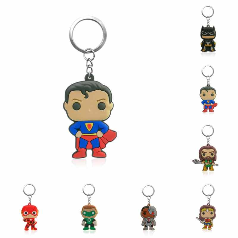 1PCS PVC Schlüssel Kette Cartoon Justice League Mini Anime Abbildung Schlüssel Ring Keychain Schlüssel Halter Mode Charme Schmuckstück
