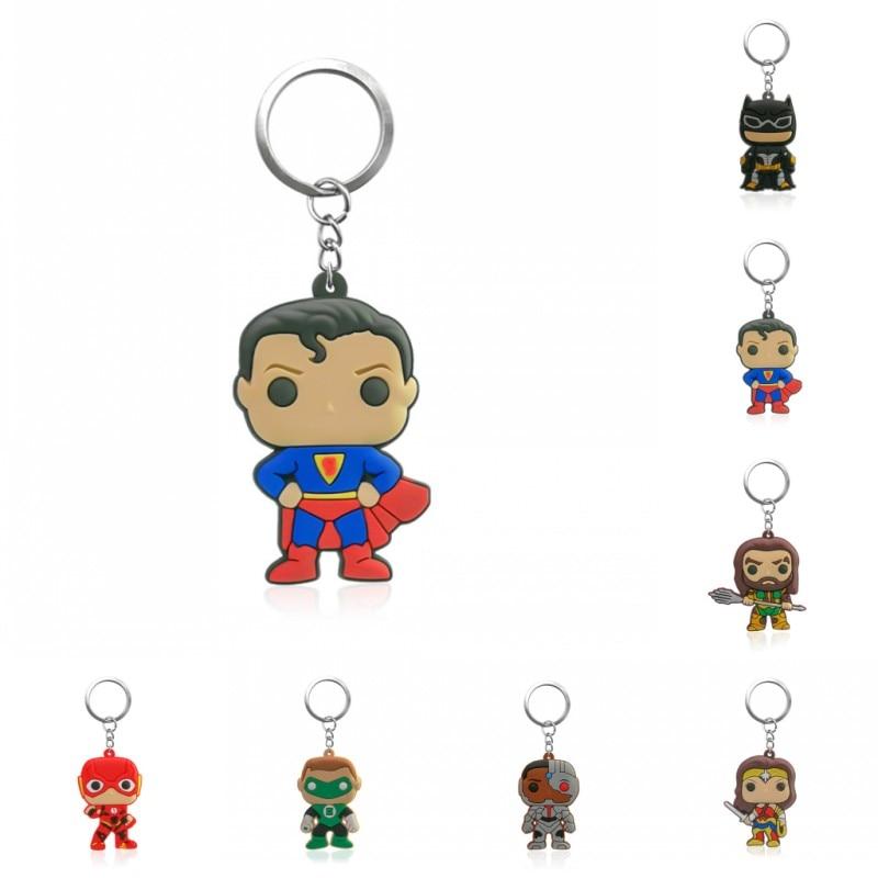 1PCS PVC Key Chain Cartoon Justice League Mini Anime Figure Key Ring Keychain Key Holder Fashion Charms Trinket
