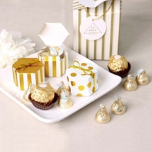 Mini 50pcs Lovely Gold Round Dot Candy Box Gold Striped Paper Boxes For Baby Shower DIY gift box Birthday Wedding Party Favor
