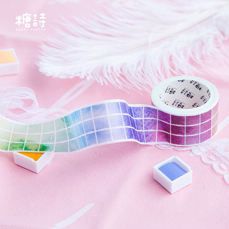 1 PCS New 25mmx5m A Dream Coloring Plate Washi Decorative Adhesive Tape DIY Masking Paper Tape Sticker Office Supplies
