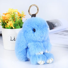 Cute Lovely 13cm Bunny Rabbit Key Chains For Women Bag Cars Fake Fur Fluffy Unicorn Horse Animal Keychain Ring Pom Pom Jewelry(China)