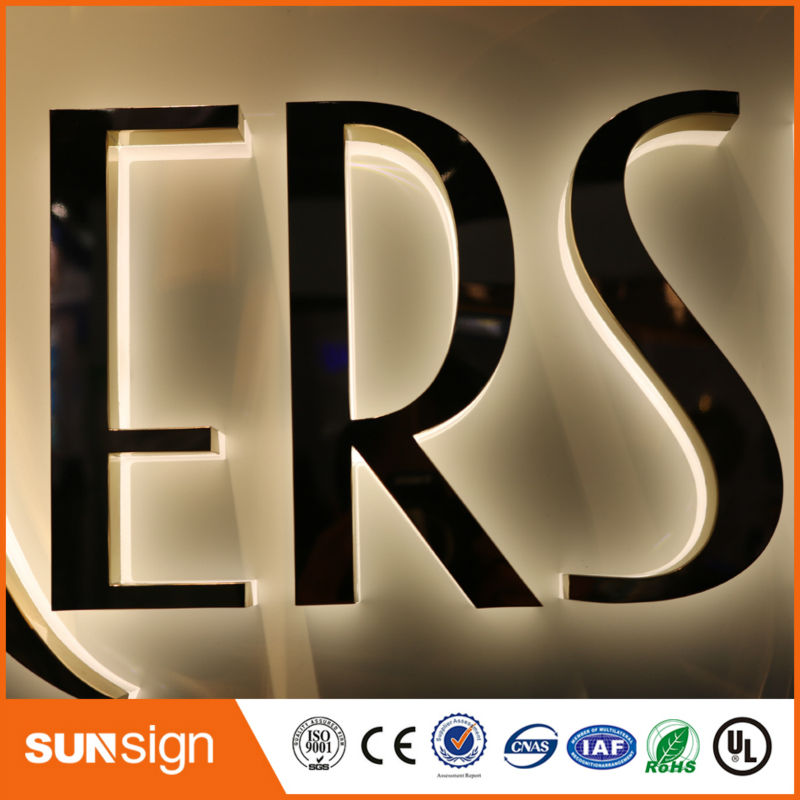 Wholesale Advertising Rose Gold Stainless Steel LED Sign Letters Backlit