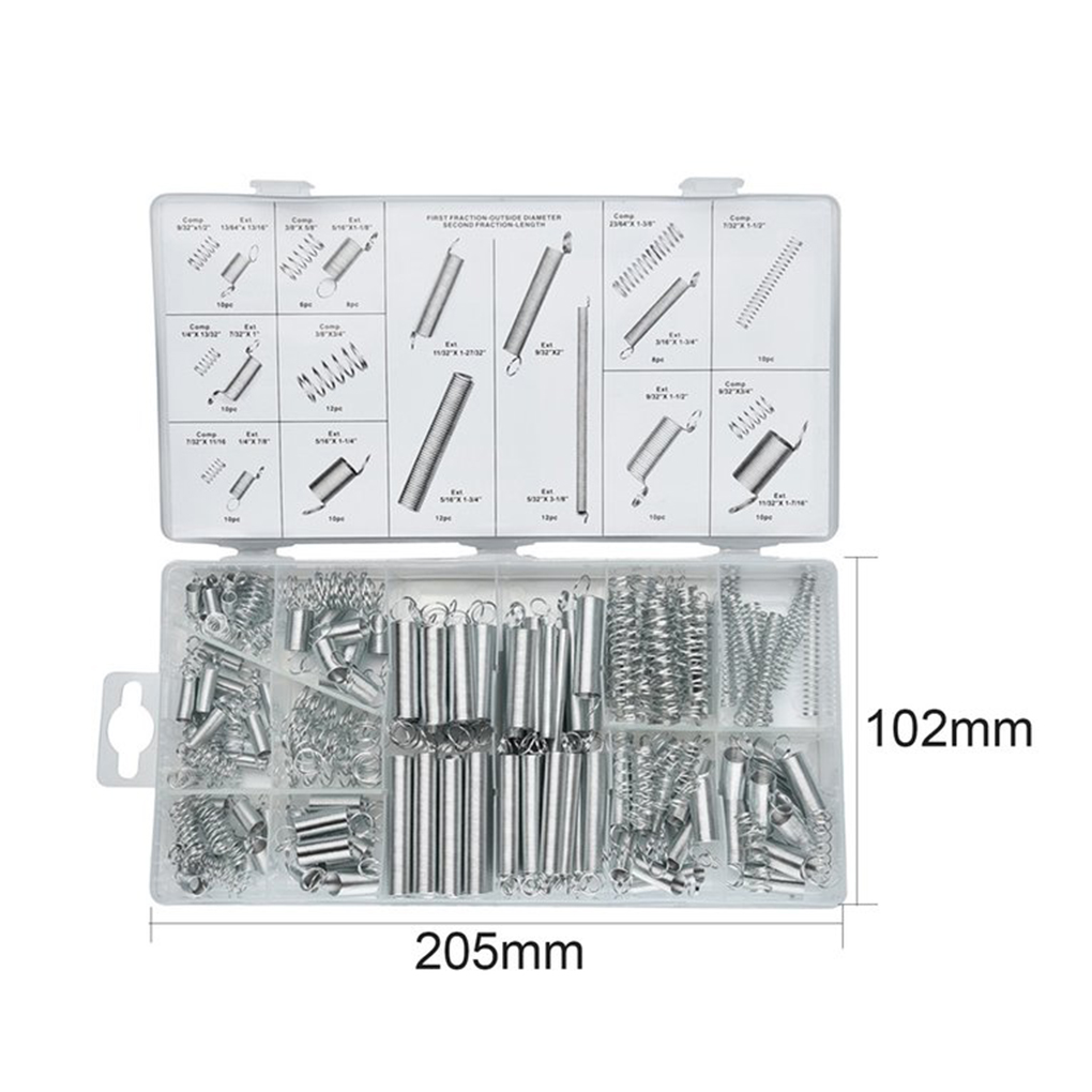 Hot 200PCS/Set Sturdy Practical Metal Tension Compression Springs Assortment for Bicycle Locks Automotive Electronics 200pcs set flexible springs 20 sizes practical metal tension compresion springs assortment spring stack