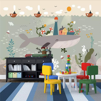 Hand-painted underwater world whale mate art background wall professional production mural wholesale wallpaper custom photo wall hand painted color oil painting background wall professional production mural factory wholesale wallpaper poster photo wall