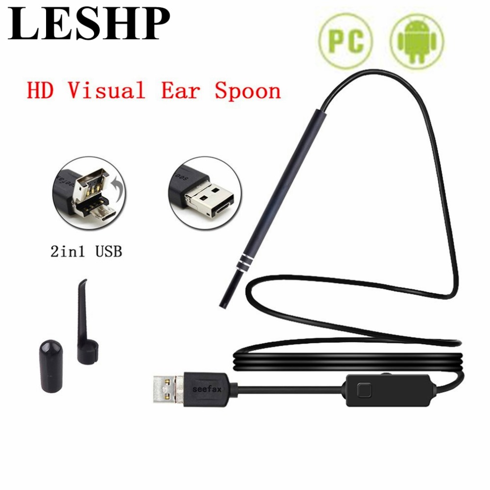 2 in 1 USB Ear Cleaning Endoscope 5.5mm Multifunction HD Visual Ear Spoon Ear Health Care Earpick for PC for Android Smartphone healthcare gynecological multifunction treat for cervical erosion private health women laser device