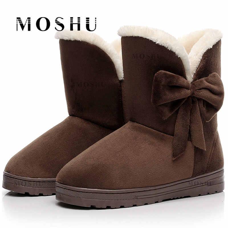 Kadın kış sıcak kar botları ayakkabı kürk siyah orta buzağı çizmeler peluş ayakkabı astarı kadınlar için dantel Up Botas mujer 2019