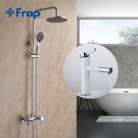 Frap Bathroom Rainfall Shower Faucet Set Mixer Tap With High White Spray Painting Basin Taps 360