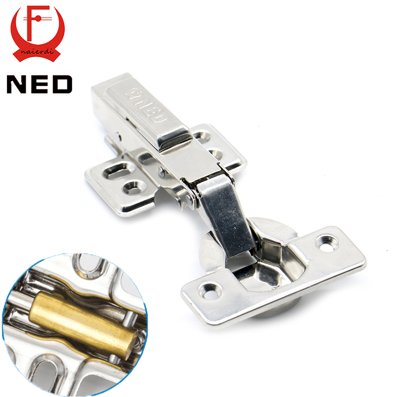 10PCS NED Super Strong 40MM Cup Hinges Stainless Steel Hydraulic Copper Core Hinge For Cupboard Cabinet Door Furniture Hardware 2pcs set stainless steel cabinet closet door hinges 90 degree self closing furniture hardware cupboard hinges