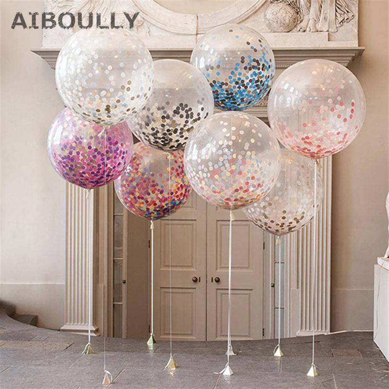 36 palců Confetti balónky se smíšenými barvami Confettis Latex Clear Helium Air balón pro svatební narozeninové párty dekorace  t