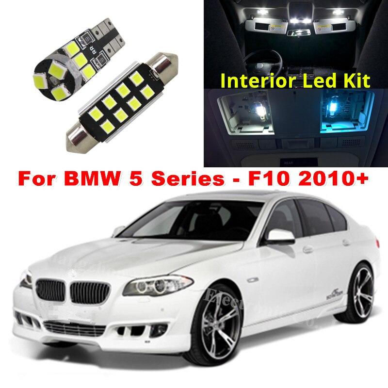WLJH 19x Bianco Canbus Dome Vano Piedi di Illuminazione del Tronco Della Lampadina LED Auto Interni Luce Kit per BMW F10 5 Serie 2010 + 550i 535i 528i M5