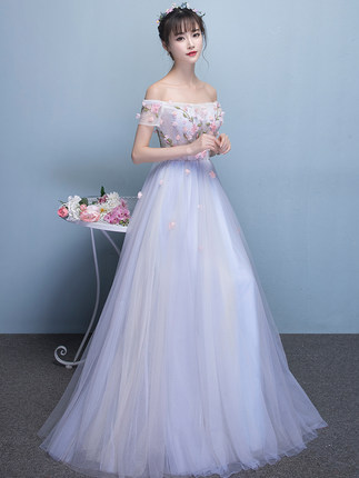 Freeship pale blue flower petals long dress boat neck medieval dress renaissance Gown queen Victorian/Marie/drama/ball gown