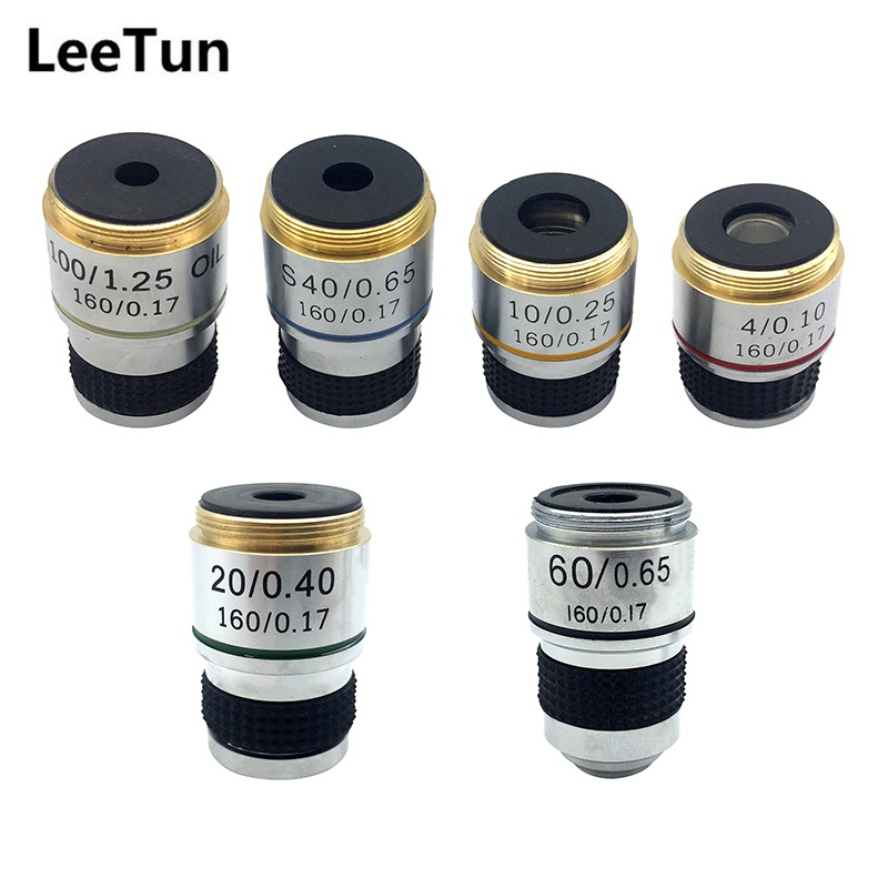 One Set 4X 10X 20X 40X 60X 100X Achromatic Objective Lens for Biological Microscope Bio-microscope Conjugate Distance 185mm winner wr 7210