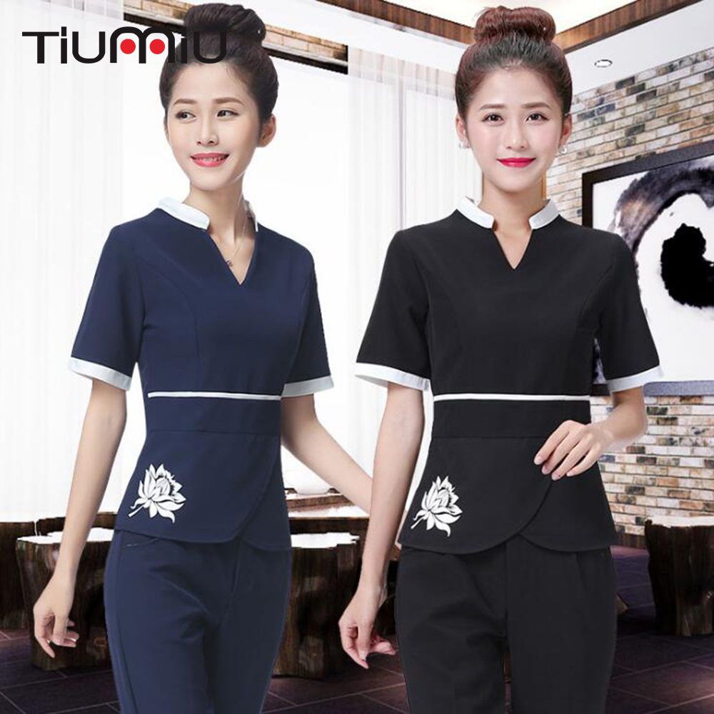 Lab Set Jacket+Pants Hotel Waiter Aviation Uniform Women Short Sleeve Medical Uniform Lady Beauty Salon SPA Fashion Work Uniform
