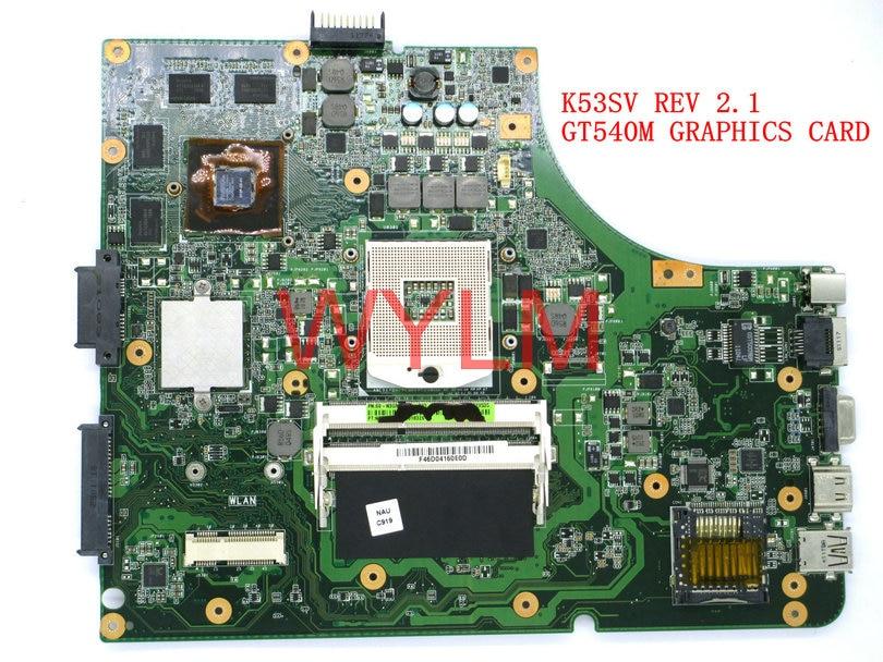 Бесплатная доставка K53SV GT540M 1 ГБ REV 2.1 USB2.0 плата для ASUS K53S X53S A53S K53SV Материнская плата ноутбука N12P-GS-A1 100% тестирование