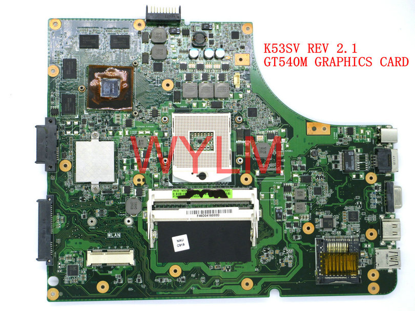 free shipping K53SV GT540M 1GB REV 2.1 USB2.0 Mainboard For ASUS K53S X53S A53S K53SV Laptop motherboard N12P-GS-A1 100% Tested free shipping new brand original u30sd laptop motherboard main board rev 2 0 60 n3zmb1300 a19 n12p gv s a1 100