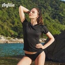 Anfilia Women Short Sleeve Rash guard Top Ladies Quick-drying Shirts UV-Protection Rashguard Running Solid Color
