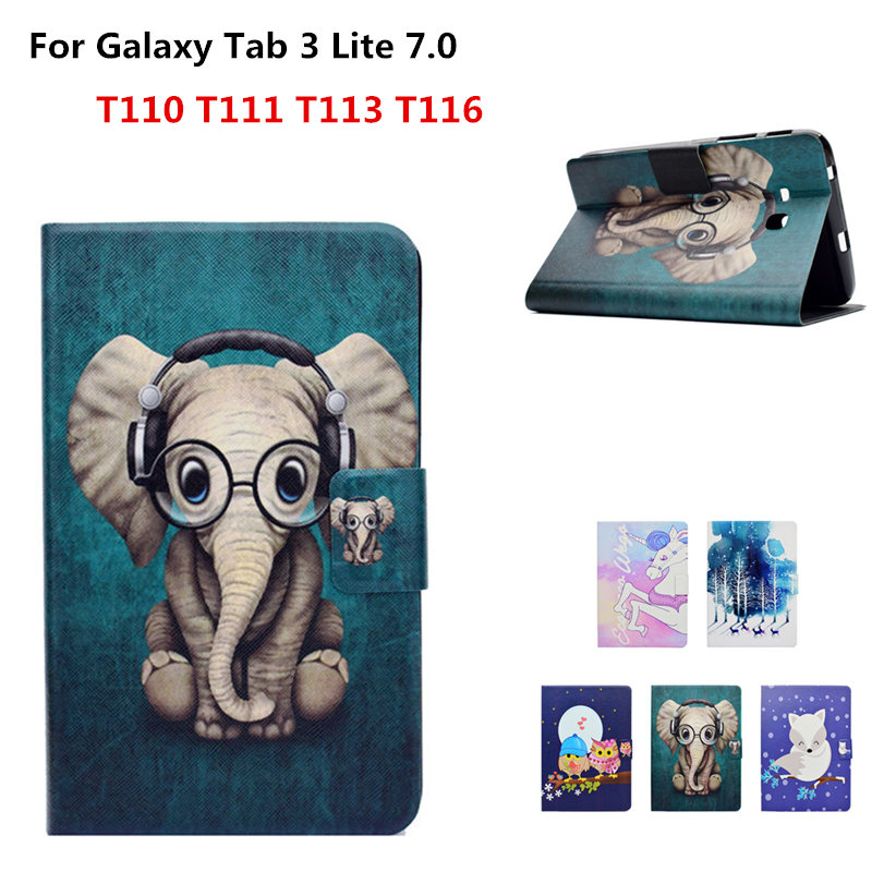 PU leather stand Protective Ultra thin Cover Cute Elephant Case For Samsung Galaxy Tab 3 Lite 7.0 T111 T110 T113 T116 Tablet sldpj stylish ultra thin protective pu leather case cover w visual window for iphone 4 4s red