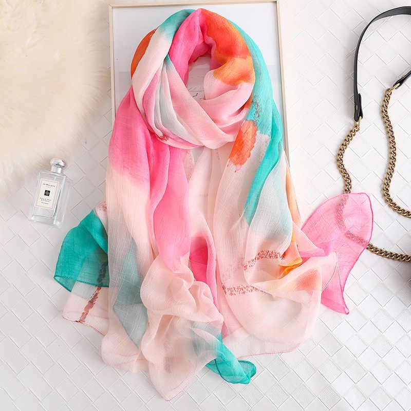 Marca 2019 di estate sciarpa di seta per le donne scialli e impacchi di moda di grandi dimensioni morbida sciarpa di pashmina beach stole foulard echarpe hijab