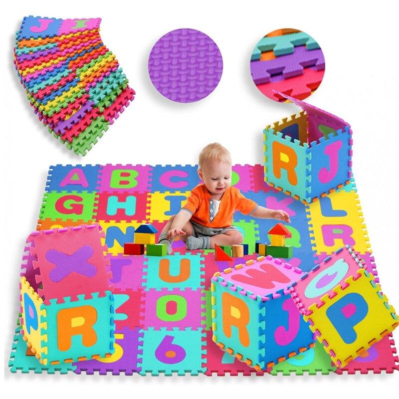 Offres spéciales numéro de mousse de haute qualité + lettres Alphabet ABC tapis de Puzzle de sol tapis enfants jeux de chambre tapis alfombras cadeaux - 2