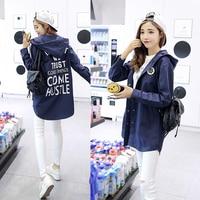 Make Han Edition Fashion Joker Long Printing Letters In Leisure Loose Dust Coat Hooded Jacket Female