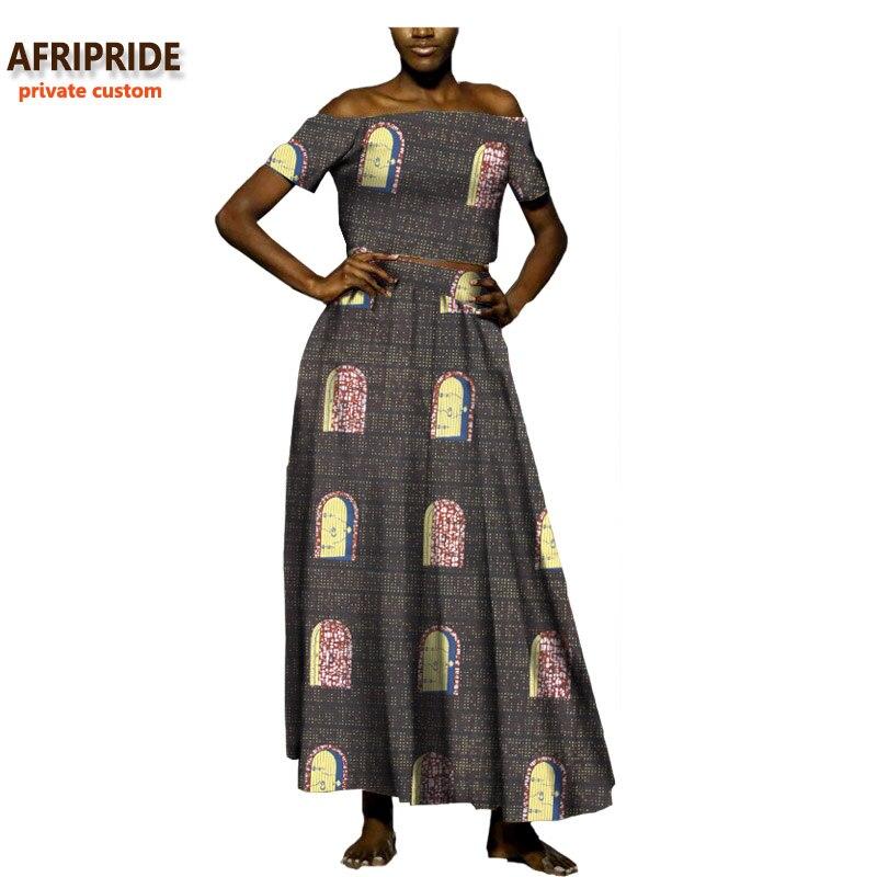 2019 sexy costume décontracté pour les femmes africaines AFRIPRIDE privé personnalisé à manches courtes sans bretelles top + cheville longueur jupe wax cottonA722619