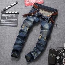 New Fashion Mens Ripped Biker Jeans Print Slim Fit Motorcycle Jeans Men's Skinny Denim Causal Jeans Pants Trouses Size 29-38