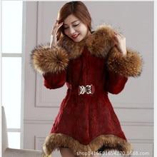 2016 Winter Fur Fashion Women Thickening Rabbit Imitation Coat Female Han Edition Cultivate One's Morality Even Cap Raccoon Fur
