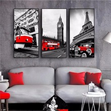 ФОТО modern city home decor red tram wall art european building street wall pictures for living room eiffel tower big ben posters