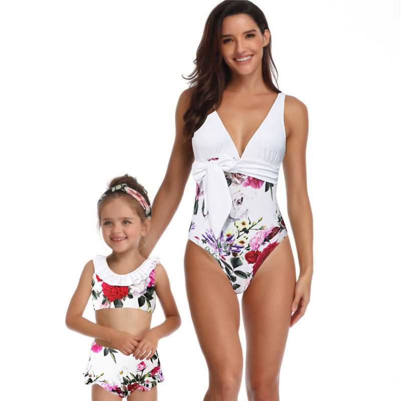 Mother Kids Swimsuit Matching Family Outfits Swimwear Printed Jumpsuit Mom and Daughter Dress Family Look Beach Swimming Clothes