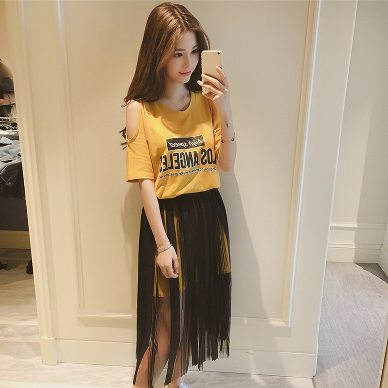 2019 Summer Gauze Skirt Suits Women New Number Printing Round Neck T shirt Black Mesh Skirts Set Cold Shoulder Two Piece Sets in Women 39 s Sets from Women 39 s Clothing