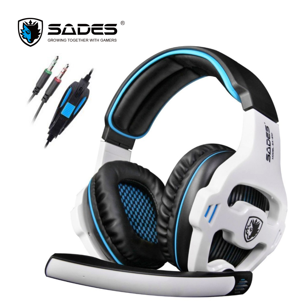 Original SADES SA-810 headset 3.5mm Wired Stereo PC Gaming Headset with Microphone for PC Laptop  white blue gaming headphone g1100 3 5mm pro gaming headset headphone for ps4 laptop crack pattern led led blue black red white