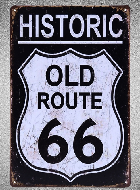 1 pc Route 66 bar Tin Plate Sign plate wall man cave Decoration Art Dropshipping Poster metal in Plaques Signs from Home Garden
