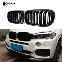 1pair 2 slat ABS Kidney Bumper Grille for BMW X5 F15 X6 F16 Front Racing Grill 2015 2016 2017 2018